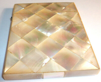 Antique Mother Of Pearl Calling Card Case -Diamond Design - Missing Hinge