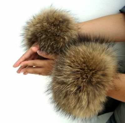 Genuine fox fur hand wrist warmer fur cuffs one pair black Christmas d