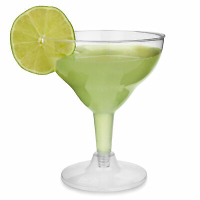 Disposable Margarita Glasses 155ml - Set of 12 - Clear Plastic Cocktail Glass