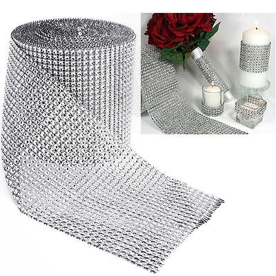 FULL ROLL 10 Yards Diamante Crystal Effect Mesh Ribbon Trim! 24 Rows Silver