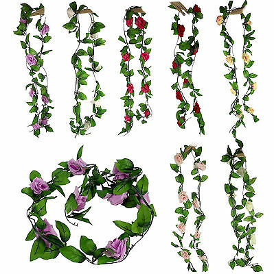 2x 2 Metre Rose Vine Garland With Flowers and Ivy Leaves UK DISPATCH!