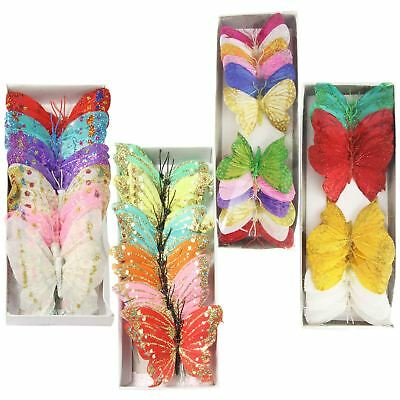Assorted Feather Florist Butterfly Packs! Large 10cm! Glitter Craft Pick Fake
