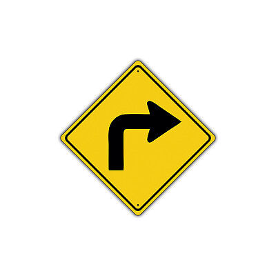Right Turn with Sharp Turn Symbol Road Traffic Novelty Aluminum Metal Sign 12x12