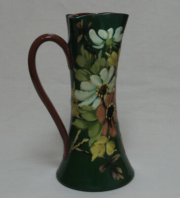 """Torquay Pottery: Aller Vale """"K2 Pattern"""" Green Ground 10.25"""" Pinched Top JUG"""