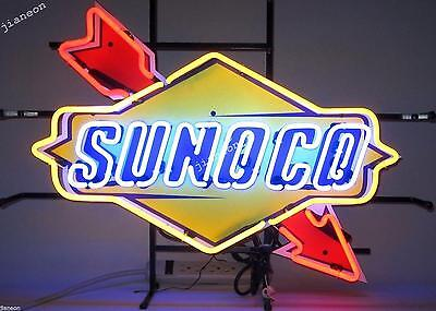 Rare New SUNOCO RACING FUEL DECAL GAS MOTOR OIL PUMP STATION NEON LIGHT SIGN