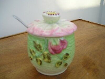 Genuine Staffordshire, Shorter & Son, Hand-Painted Flower Jam Pot with Saucer