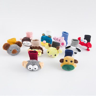 Warm Soft Cartoon Cotton Socks With Plush Toy  for 1-3 Year Old