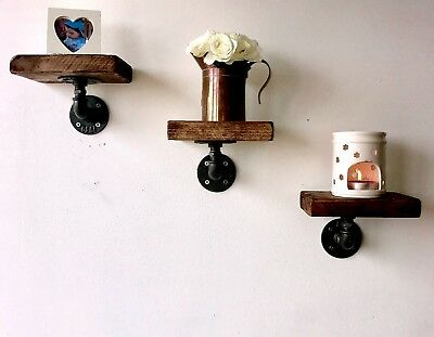 3 Reclaimed Wood Industrial Shelves And Brackets