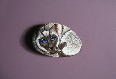 Siamese Birman Cat Original Hand Painted Stone - Pet Rock - Signed by Artist