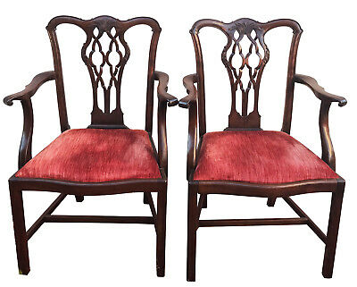Pair Of 19Th Century Chippendale Carved Mahogany Arm Chairs With Rolled Arms