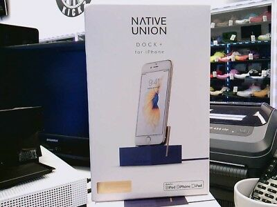 Native Union DOCK+ for iPhone or iPad with Reinforced Lightning Cable, Blue, New