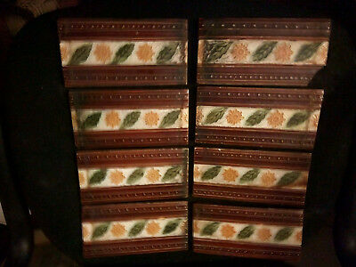 """8 genuine Victorian/Edwardian Antique moulded fireplace insert tiles 6"""" x 3"""""""