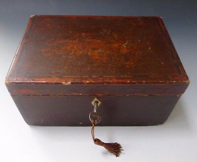Antique Chinese Japanese oriental tea caddy box with key