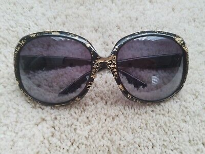 fe16e00d924d Christian Dior Glossy 1G Oversized Round Black   Gold Leaf Sunglasses