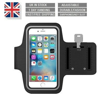 For iPhone X/10 5 6S 7 8 Plus Gym Running Case Phone Holder Sports Armband Black