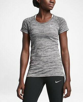 Nike Women's Dri-FIT Knit Short Sleeve Running Top 831498-010 Black Grey NWT!