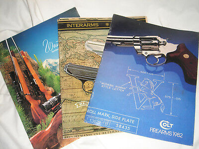 3 Gun Catalogs 1980 Weatherby 81 Interarms with Price Lists & Colt Firearms 1982