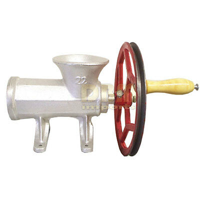 No. 22 Meat Grinder Ball Bearing Sausage Stuffer Maker 2 Plates w/ Motor Pulley