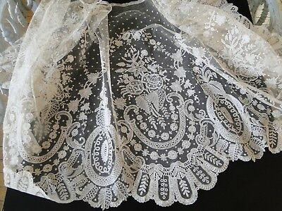 Antique Lace-Circa 19Thc,lovely Brussels Lace Flounce