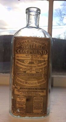 Rare Labeled Lydia Pinkham's Antique Bottle For Female Complaints