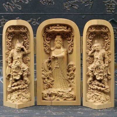Chinese Boxwood Handmade Carved Three Kwan-yin Open Box SK10
