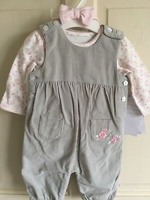 BNWOT F&F Sample 2 Piece Set/ Outfit. Girls. Age 0-3 Months. Top & Dungarees