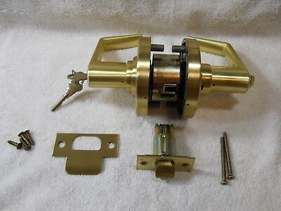 Satin brass lever handle lockset, complete with keys and hardware, VGC