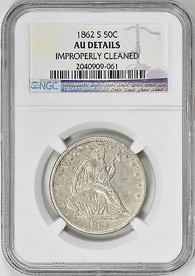 1862-S Seated Liberty Half Dollar NGC AU Details