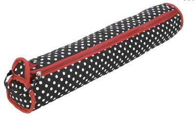 BIRCH - Knitting Needle Holder - Black with White Polka Dots, Red Trim.