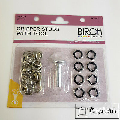 BIRCH - Gripper Studs with Tool - BLACK - 8 Pieces - Soft Touch Snap Fasteners