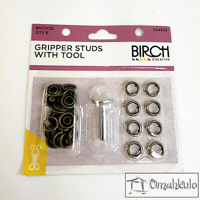 BIRCH - Gripper Studs with Tool - BRONZE - 8 Pieces - Soft Touch Snap Fasteners