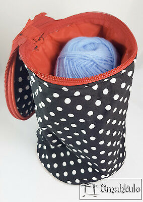 BIRCH - Knitting Wool Holder - Black with White Polka Dots, Red Trim.