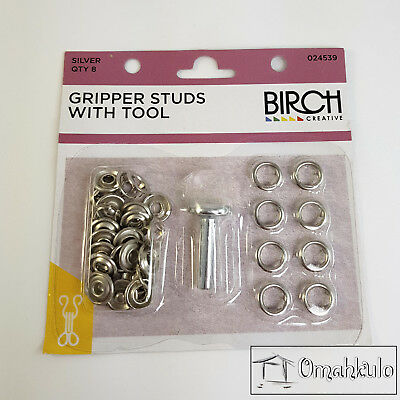 BIRCH - Gripper Studs with Tool - SILVER - 8 Pieces - Soft Touch Snap Fasteners