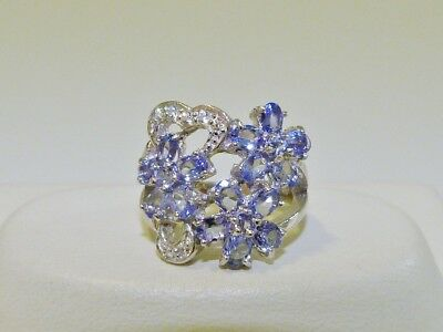 GORGEOUS! RARE 1.68cts! Genuine Tanzanite Cluster Ring Solid S/Silver 925!!