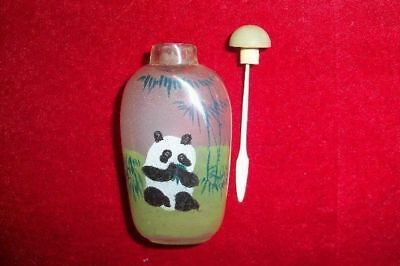 Vintage Chinese Porcelain Snuff Bottle with Inside Glass Painted Panda Bears