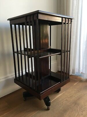Antique Edwardian Mahogany Revolving Bookcase on Castors
