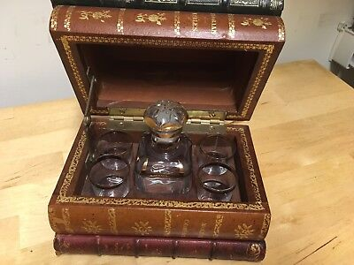 Antique French Liquor Service Caddy Leather Book Glass Decanter Set