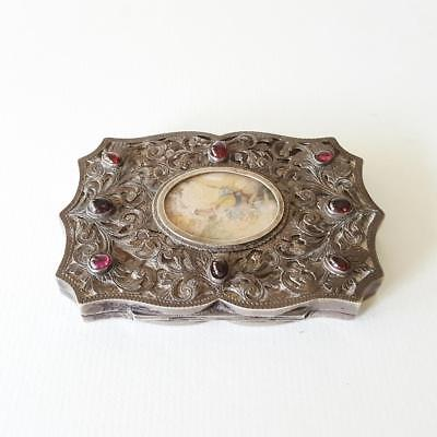 Italian 800 Silver Compact Case with Hand Painted Vignette & Garnets