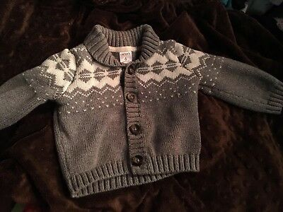 Carter's baby boy button up cardigan sweater size 6mths gray
