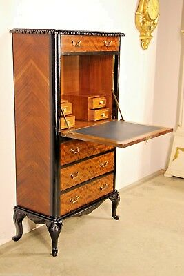 Antique secretaire bureau fall front DESK inlaid marquetry leather Louis carved