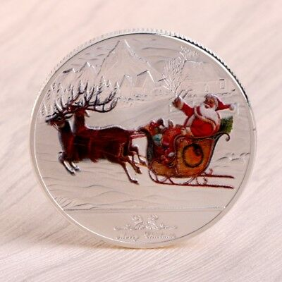 Merry Christmas Santa Claus Deer Sleigh Coins Commemorative Silver New Year Gift
