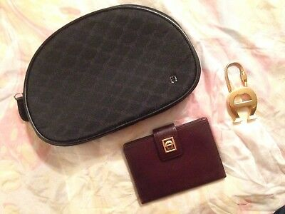 Etienne Aigner Lot of 3 Makeup Bag Small Card Case Key Ring