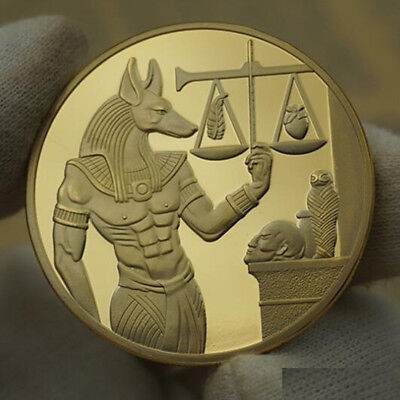 God of Death Egyptian Mummification Anubis Coin Badge Collectible Gold 40x3mm