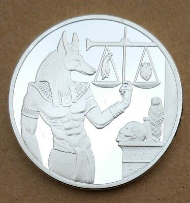God of Death Egyptian Mummification Anubis Coin Badge Collectible Silver 40x3mm