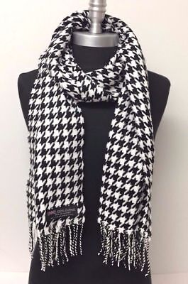 100% CASHMERE SCARF HOUNDSTOOTH DESIGN BLACK WHITE MADE IN SCOTLAND SUPER #vg