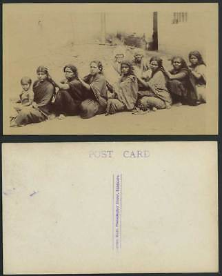 India Old Real Photo Postcard Lice Louse Hunt Native Women Little Girl Bangakore