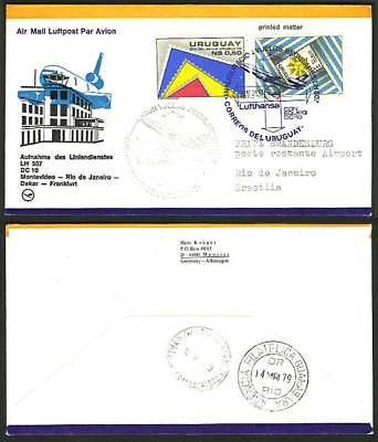 Uruguay Brazil 1979 Lufthansa LH 507 First FLIGHT Cover