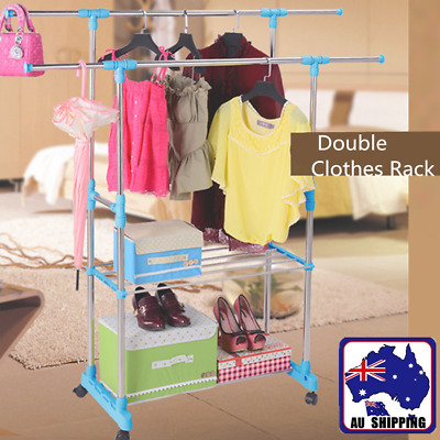 Stainless Steel Portable Double Clothes Rack Garment Hanger Dryer Home TRA000066