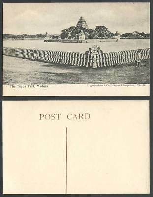 India Old Postcard The Teppa Tank Madura Panorama Lake Island Pagodas Temple 162