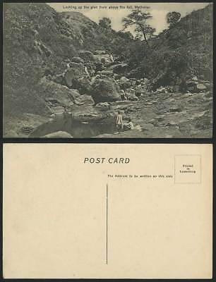 India Old Postcard MATHERAN, Looking Up The Glen from above the Fall, Rocks, Boy